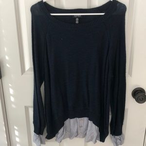 Navy Sweater with Striped Underlay